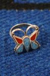 VINTAGE NAVAJO BUTTERFLYCHIP INLAY SILVER RING