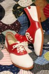 DEAD STOCK 50'S PETERMAN SADDLE SHOES (WHT/RED)
