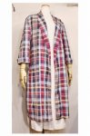 60'S MADRAS CHECK COTTON GOWN (NVY/WHT/YLW/PLM)