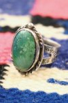 VINTAGE NAVAJO FRED HARVEY STYLE SNAKE STAMPED TURQUOISE RING