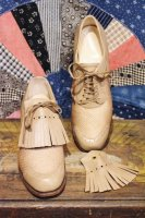 40'S MESH & LEATHER OXFORD SHOES WITH KILT (BEIGE)