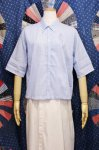 DEAD STOCK 60'S GINGHAM CHECK ROLL SLEEVE SHIRTS (H.BLE/WHT)