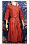 50'S FRUIT OF THE LOOM 3/4 SLEEVE PRINT DRESS WIHT BELT (RED)