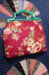 40'S EARLY PLASTIC HANDLE FLOWER PRINT FABRIC BAG (PLM)