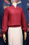 70'S HENLEY NECK PILE KNIT TOPS (RSBY)