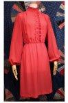 70'S STAND COLLAR RAFFLE EDGE PIN STRIPE DRESS (PNK/GRY)