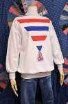 70'S TRICOLOR BOAT NECK TOPS (WHT/RED/BLE)