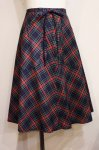 70'S TARTAN CHECK FLARE WRAP SKIRT (NVY/GRN/BLK/RED/YLW)
