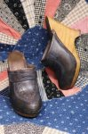 70'S LEATHER HIGH HEEL WEDGE SABOT (NVY)