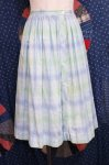 50'S〜60'S CHECK FRONT BUTTON PLEAT FLARE SKIRT (GRN/BLE/WHT)