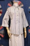 DEAD STOCK 70'S STRIPE BELL SLEEVE PULLOVER SHIRTS (WHT/NVY)