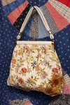 60'S JR NEEDLEPOINT FLOWER PATTERN CLASP HANDBAG WITH COIN PURSE (IVY)