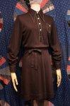 70'S LONG POINT COLLAR POLO DRESS WITH BELT (D.BRN)