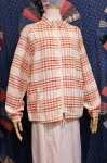 70'S h.i.s CHECK STAND COLLAR FULL ZIP JACKET (O.WHT/RED/BRN)