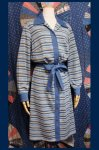 60'S COUNTRY MISS MULTI BORDER SHIRT DRESS (BLE/WHT/BRN)
