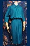 50'S KERRYBROOKE WOOL TEXTURE DOLMAN SLEEVE DRESS (GRN)
