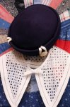 VINTAGE  FELT HAT WITH COVERED BUTTON (NVY)