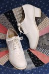 DEAD STOCK 40'S MEDALLION LEATHER OXFORD SHOES (WHT)