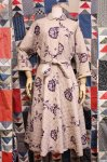 50'S FLOWER PRINTED COTTON QUILTING HOUSE COAT (PNK/PPL)
