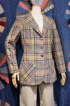 70'S SEERSUCKER GOLD BUTTON CHECK TAILORED JACKET (YLW/NVY/PLM/GRN)