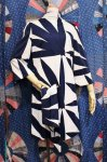 60'S BELL SLEEVE PRINT DRESS WITH BELT (WHT/NVY/BLK)