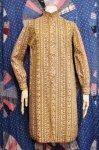 60'S PAISLEY PRINT MAO COLLAR SHIRT DRESS (BRN/WHT)