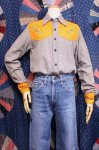 70'S FLOWER EMBROIDERED INDIA COTTON WESTERN YOKE SHIRTS (GRY/ORG)