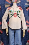 70'S FLOWER EMBROIDERED CRINKLE GAUZE TUNIC TOPS (O.WHT/L.BLE/RED/BLK/YLW)