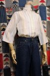 50'S-60'S EMBROIDERED STRIPE 3/4 SLEEVE SHIRTS (WHT/YLW/BRN/GRY/BLE)