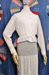 ANTIQUE EDWARDIAN  FLOWER EMBROIDERED LACE BLOUSE (WHT)