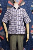50'S-60'S ARCHITECTURE PRINT COTTON ROLL SLEEVE SHIRTS (W.BLE/PPL/ORG)