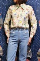 70'S MONTGOMERY WARD FLOWER PRINT LONG SLEEVE SHIRTS (IVY)