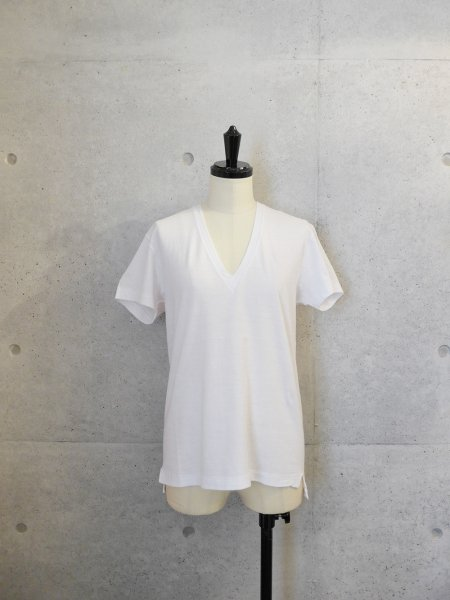 AURALEE SEAMLESS V NECK TEE COL.WHITE  SIZE/0/1