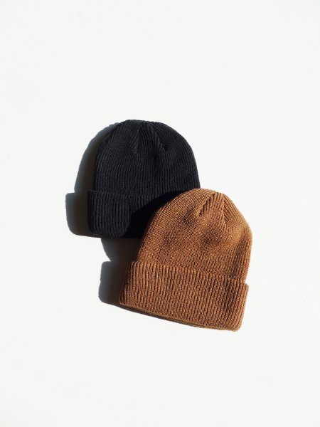 UNUSED KNIT CAP COL.CAMEL/BLACK