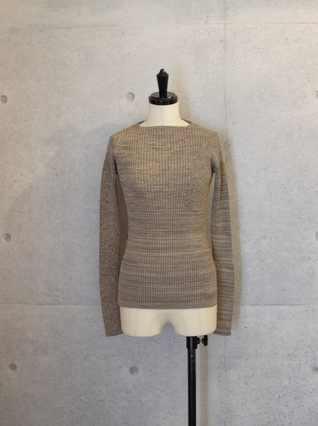 AURALEE WIDE RIB KNIT BOAT NECK P/O COL.MIX BEIGE SIZE/0/1<img class='new_mark_img2' src='//img.shop-pro.jp/img/new/icons23.gif' style='border:none;display:inline;margin:0px;padding:0px;width:auto;' />