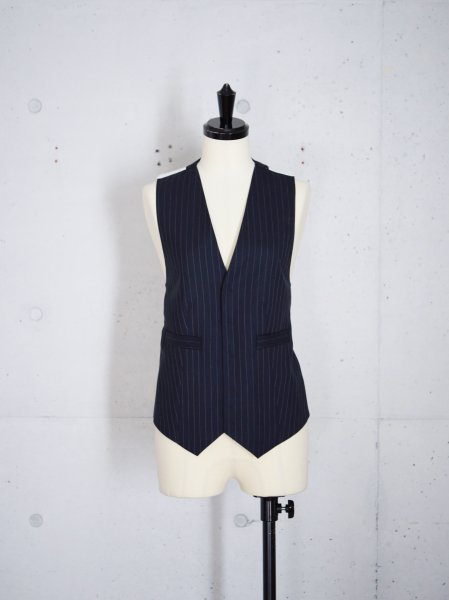 FUMIKA_UCHIDA PIN STRIPE BACKLESS WAISTCOATS COL.NAVY SIZE/34
