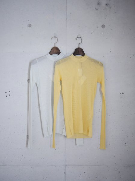 AURALEE SEE-THROUGH RIB MOCK NECK L/S TEE 3COL SIZE/0/1