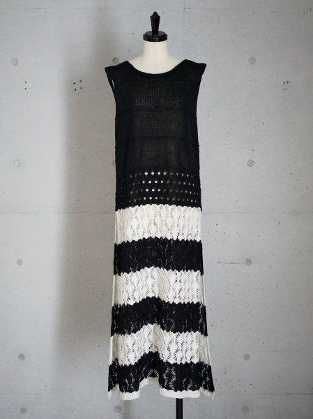 babaco  LEAF LACE STRIPE DRESS COL.BLACK