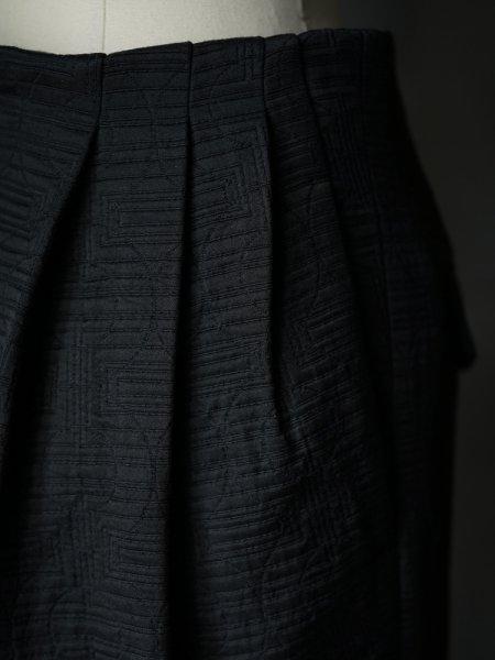 FUMIKA_UCHIDA MATELASSE 3 TUCK NO-BELT SLACKS COL.BLACK SIZE/34
