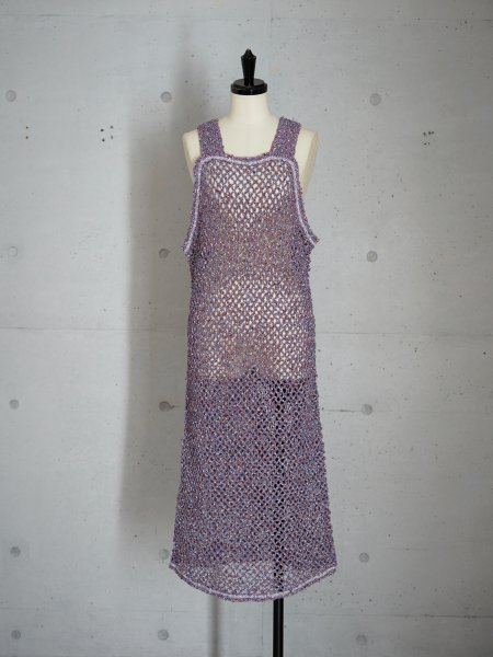 FUMIKA_UCHIDA MESH NT TANK DRESS COL.BLUE SIZE/34/36