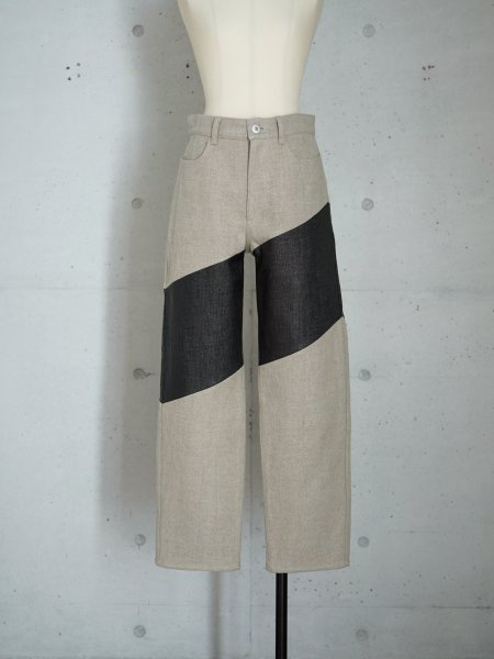 FUMIKA_UCHIDA RAFFIA×CANVAS WIDE TAPERED PANTS COL.BLACK SIZE/34