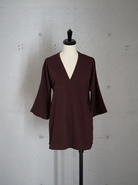 FUMIKA_UCHIDA V-NECK THREE-QUARTER-SLEEVE TOP COL.BROWN SIZE/S/M