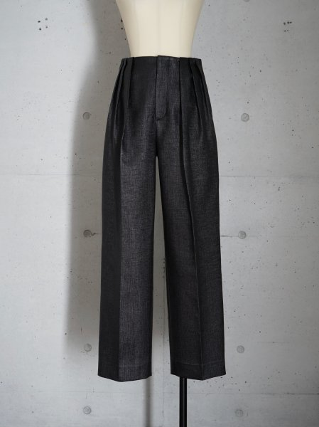 FUMIKA_UCHIDA RAFFIA 3 IN TUCK NO-BELT SLACKS COL.BLACK SIZE/34/36