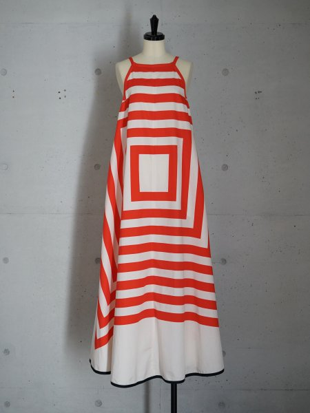 FUMIKA_UCHIDA SQUARE PRINT SQUARE-NECK A-LINE DRESS COL.RED SIZE/34