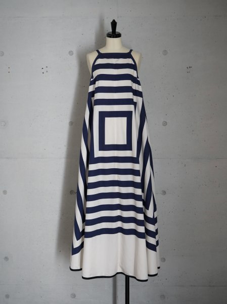 FUMIKA_UCHIDA SQUARE PRINT SQUARE-NECK A-LINE DRESS COL.NAVY SIZE/34