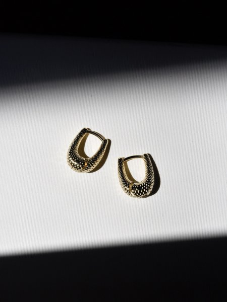 R.ALAGAN TINY TINY DOT PUFFY HOOPS / GOLD