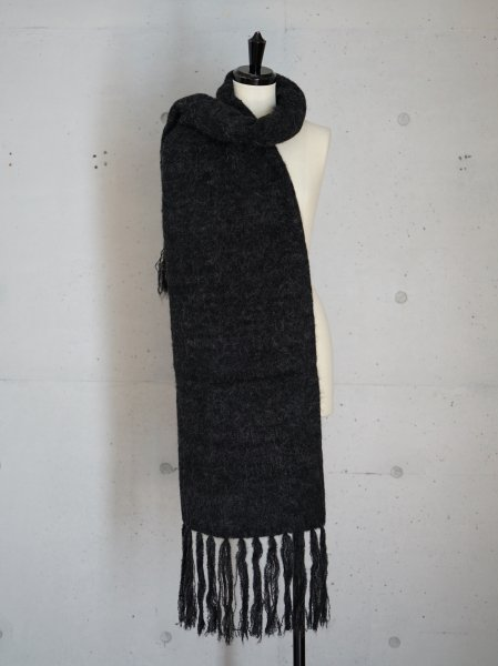 AURALEE ALPACA WOOL SUPER LIGHT KNIT STOLE  COL.TOP CHARCOAL