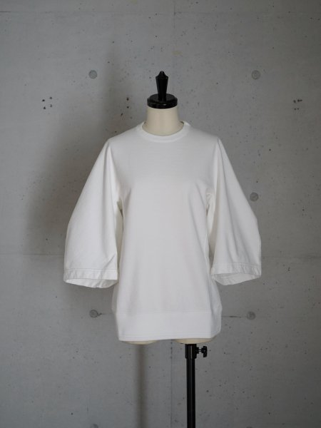 FUMIKA_UCHIDA VICTORIAN-SLEEVE SWEAT COL.WHITE