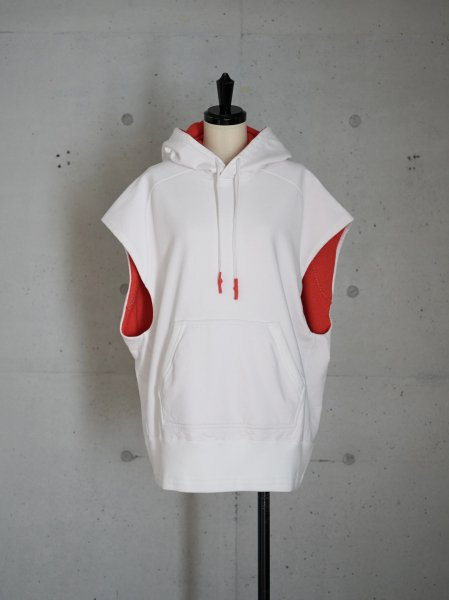 FUMIKA_UCHIDA DOUBLE FACE HOODY COL.WHITE/RED SIZE/S