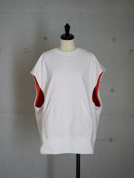 FUMIKA_UCHIDA NO-SLEEVE DOUBLE FACE SWEAT COL.WHITE/RED SIZE/S